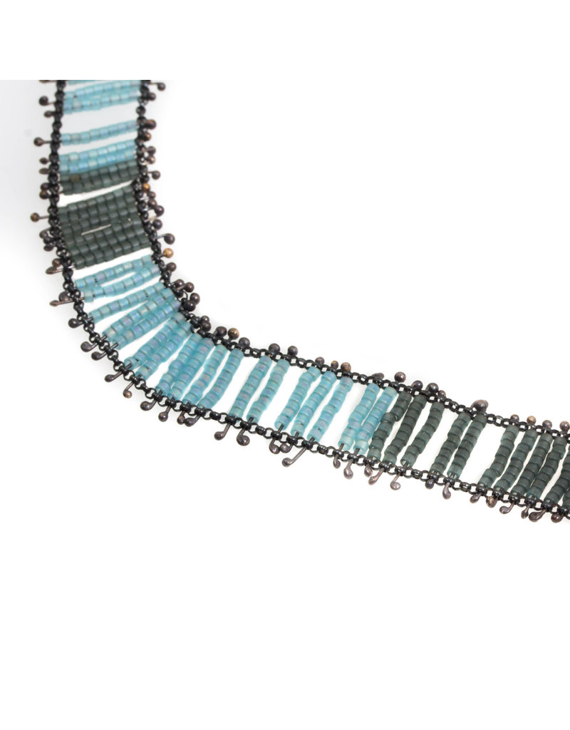 Blue Beaded Glass Necklace in Silver and Brass