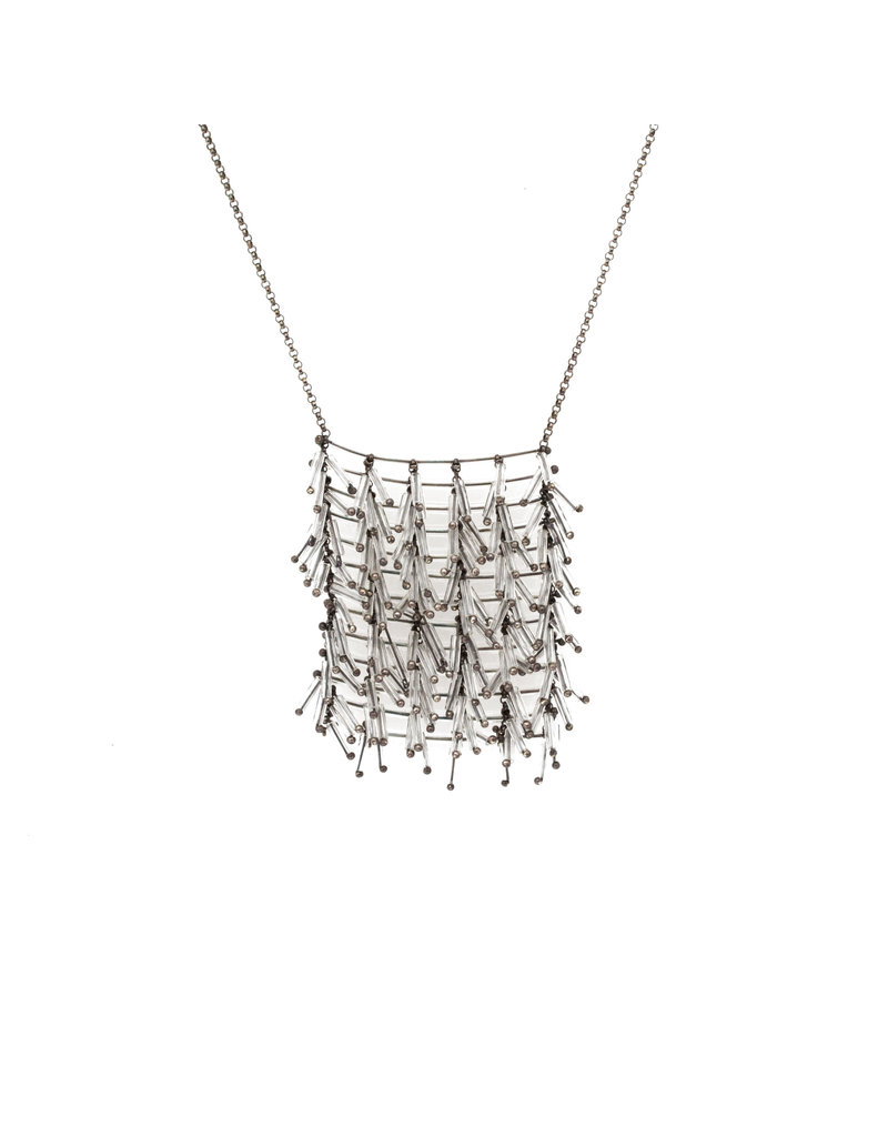 Beaded Clear Glass Necklace with Grid Pattern
