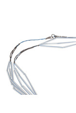 Long String Glass Necklace in Oxidized Silver