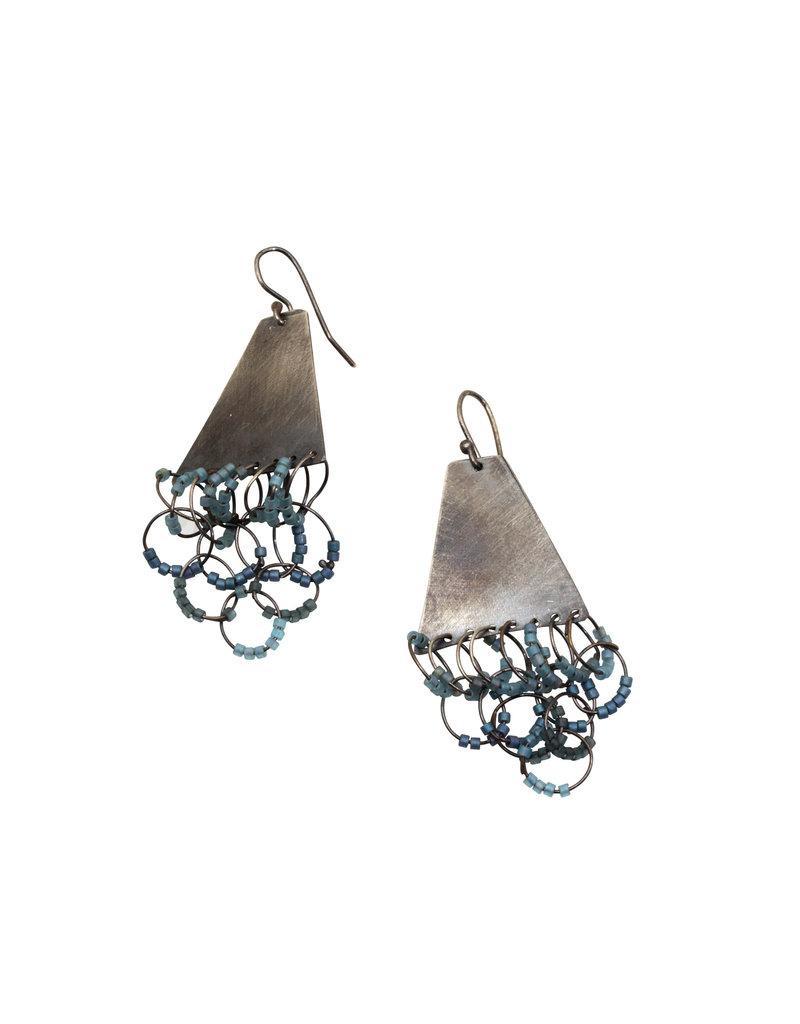 Blue Glass Loop Earrings in Silver
