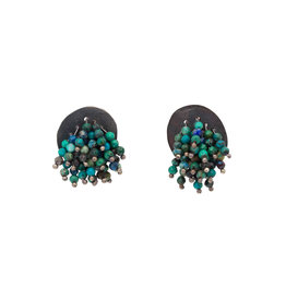 Turquoise Earrings in Oxidized Silver