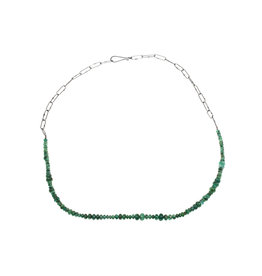 Emerald Rondell Bead Necklace with Handmade Chainin Oxidized Silver