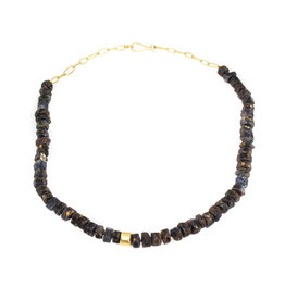 Rough Sapphire Bead Necklace with 18k Gold Chain