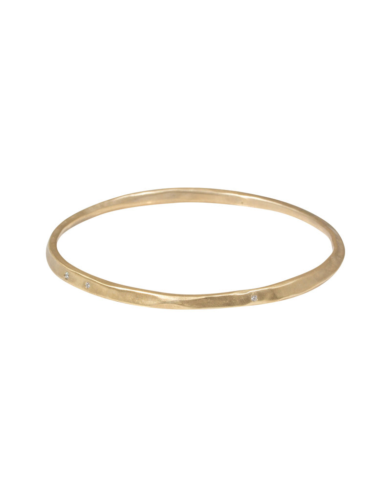 Oval Hammered Twist Bangle in Golden Bronze with White Diamonds