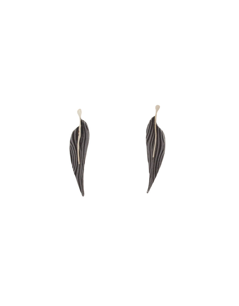 Long Little Leaf Post Earrings in Damascus Steel
