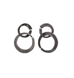 Double Circle Earrings in Damascus Steel