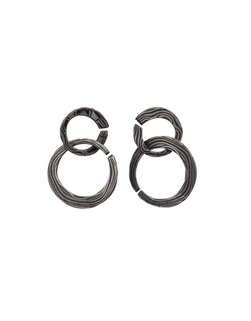 Double Circle Earrings in Damascus Steel