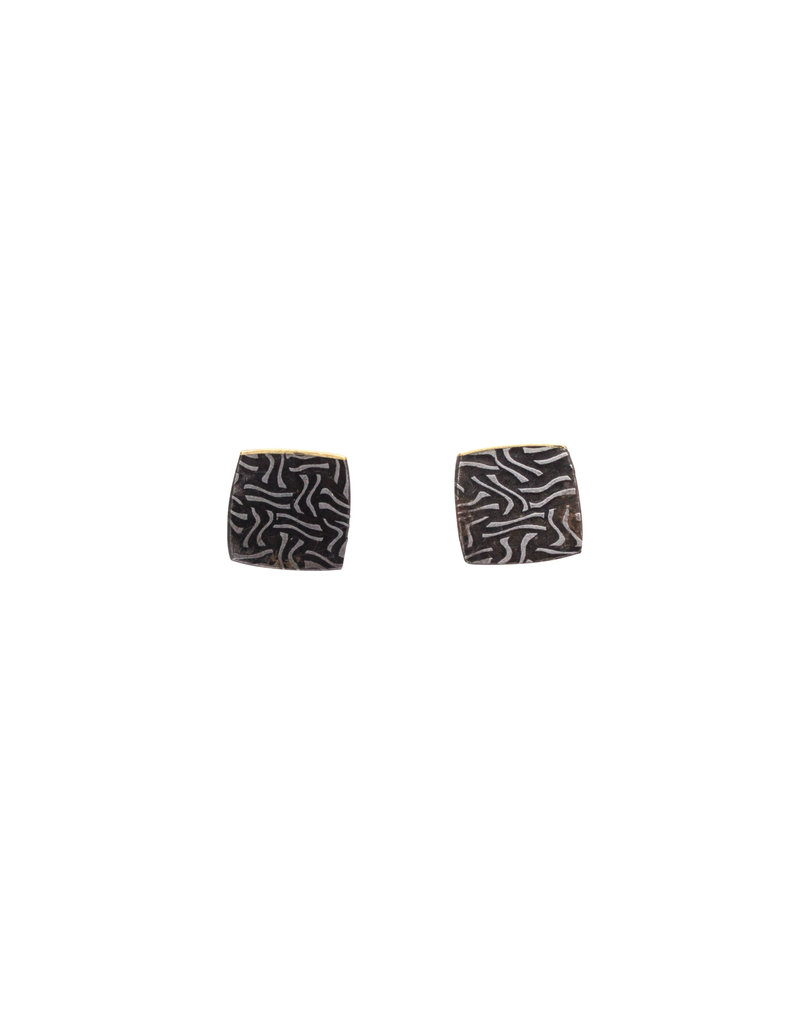 Square Post Earrings in Damascus Steel