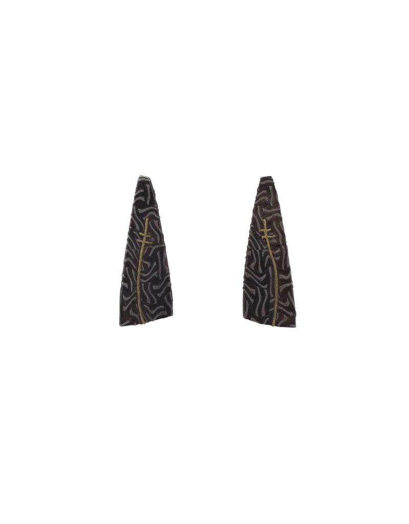 Wedge Post Earrings in Damascus Steel