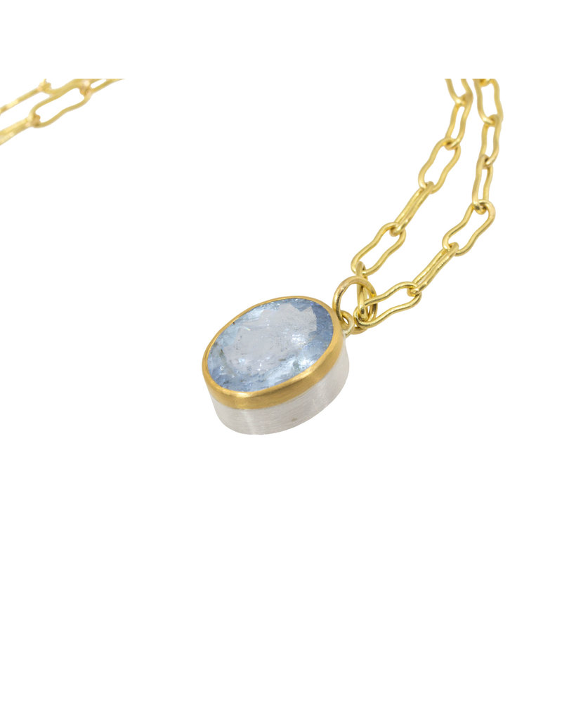 Icy Blue Beryl Pendant in 22k and 18k Gold and Silver
