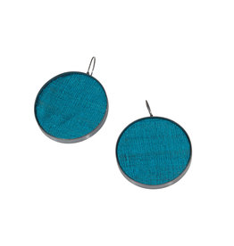 Extra Large Teal Silk Earrings in Oxidized Silver