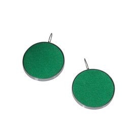 Extra Large Green Silk Earrings in Oxidized Silver