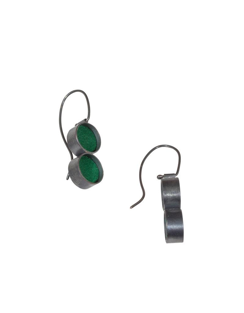 Small Double Green Silk Earrings