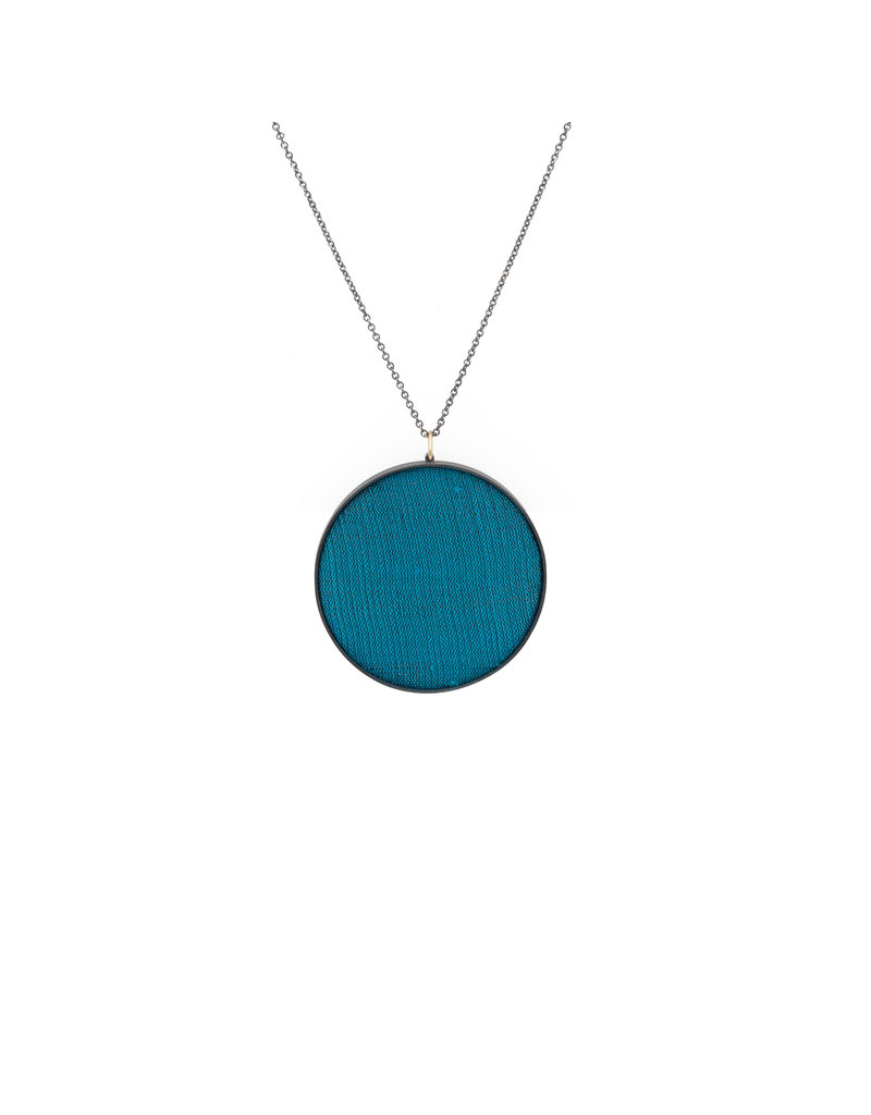 Extra Large Teal Silk Pendant in Oxidized Silver