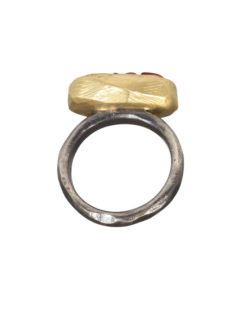 Coral Ring in 18k Gold and Silver