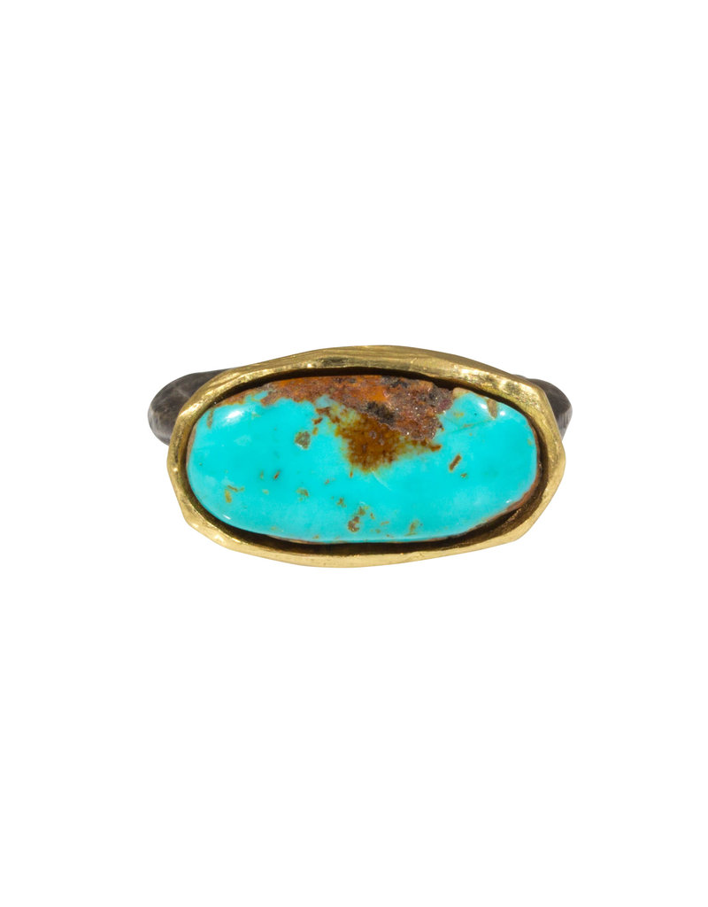 Turquoise Ring in 18k Gold and Silver