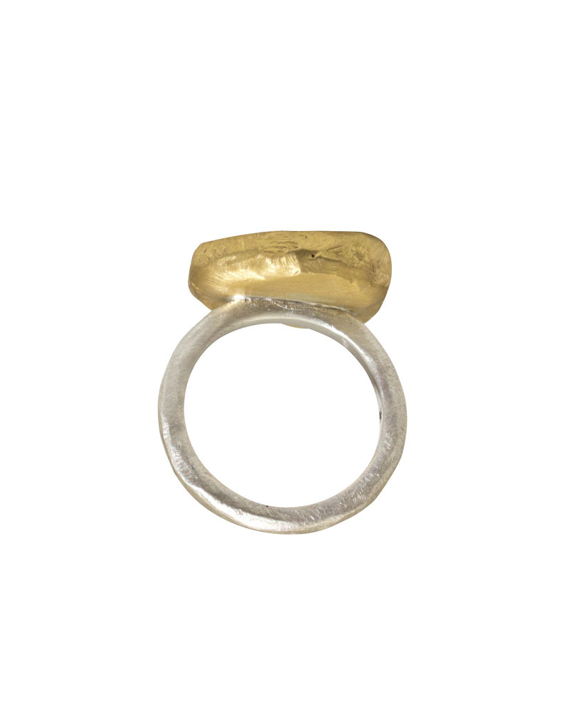 Fossil Mastodon Ivory Ring in Silver and Gold with Cognac Diamond