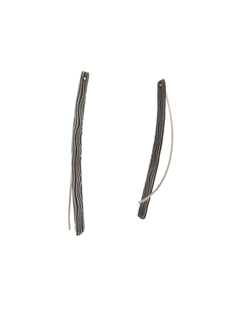 Long Arc Earrings in Damascus Steel