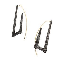 Rectangle Hoop Earrings in Damascus Steel with 14k Gold Ear Wires