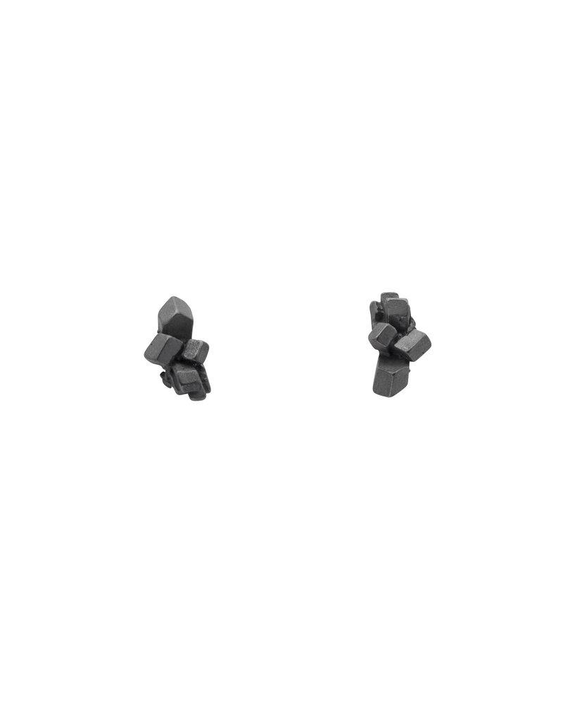 Sugar Lump Post Earrings in Oxidized Silver