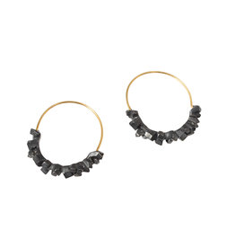 Super Fine Hoop Earrings in Oxidized Silver with Gold Earwires