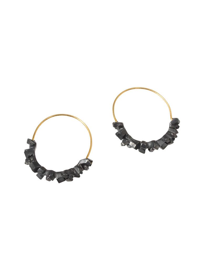 Super Fine Hoop Earrings in Oxidized Silver with Gold Earwires