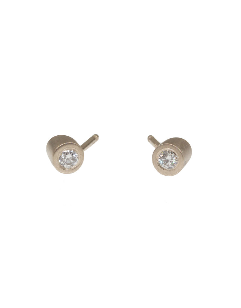 Angled Tube & White Diamond Post Earrings in 14k Palladium White Gold
