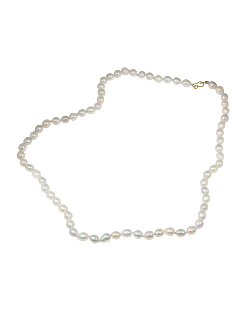 Freshwater Pearl Necklace with Lavender Silk