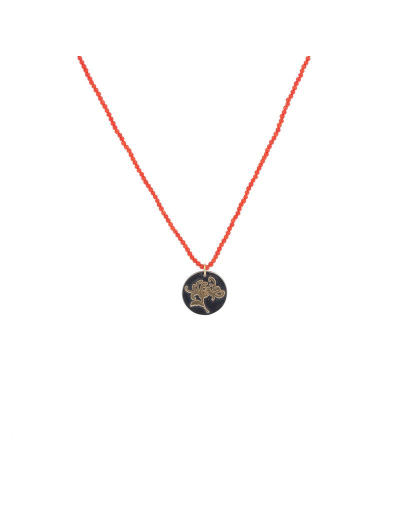 Chrysanthemum Pendant on Vintage Necklace