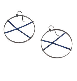 Plique Earrings with Lapis in Oxidized Silver