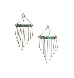 Beaded Fringe Chandelier Earrings with Turquoise in Silver