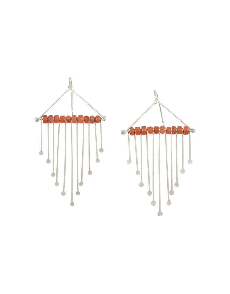 Antique Beaded Fringe Chandelier Earrings with Coral in Silver