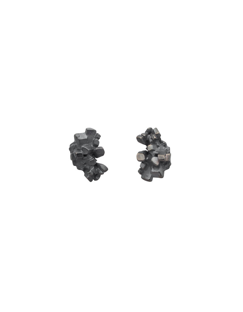 Sugar Cluster Posts Earrings in Oxidized Silver