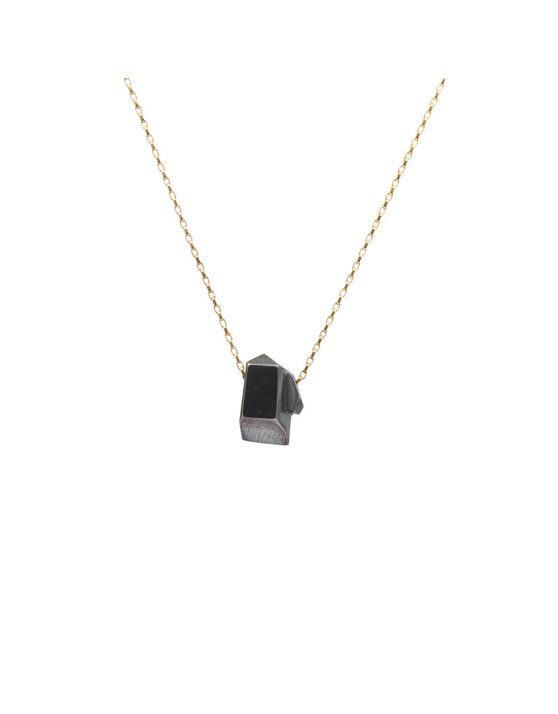 Sugar Rock Necklace in Oxidized Silver with Gold Chain
