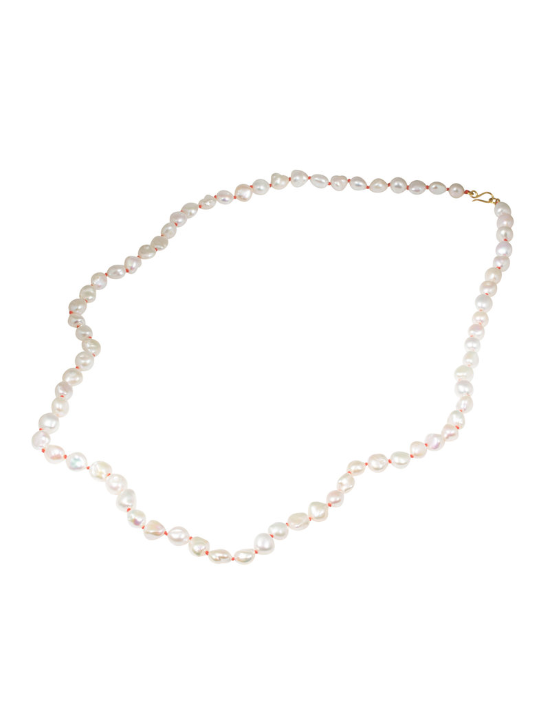 Freshwater Pearl Necklace with Coral Silk