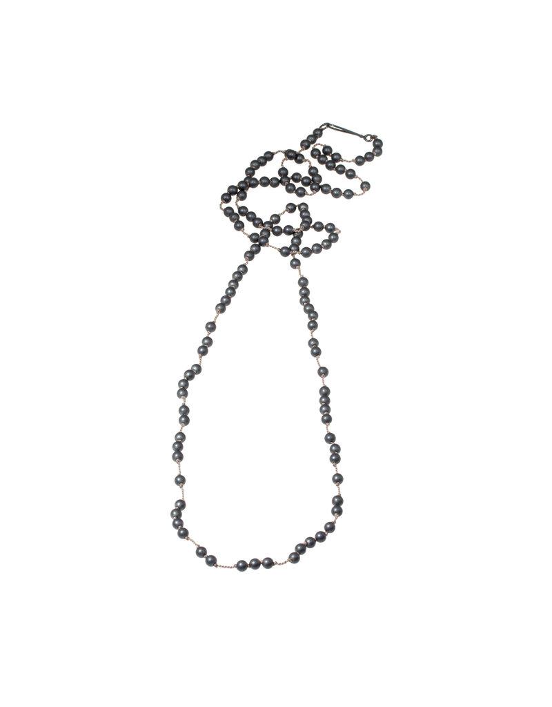 Spaced Matte Hematite Necklace