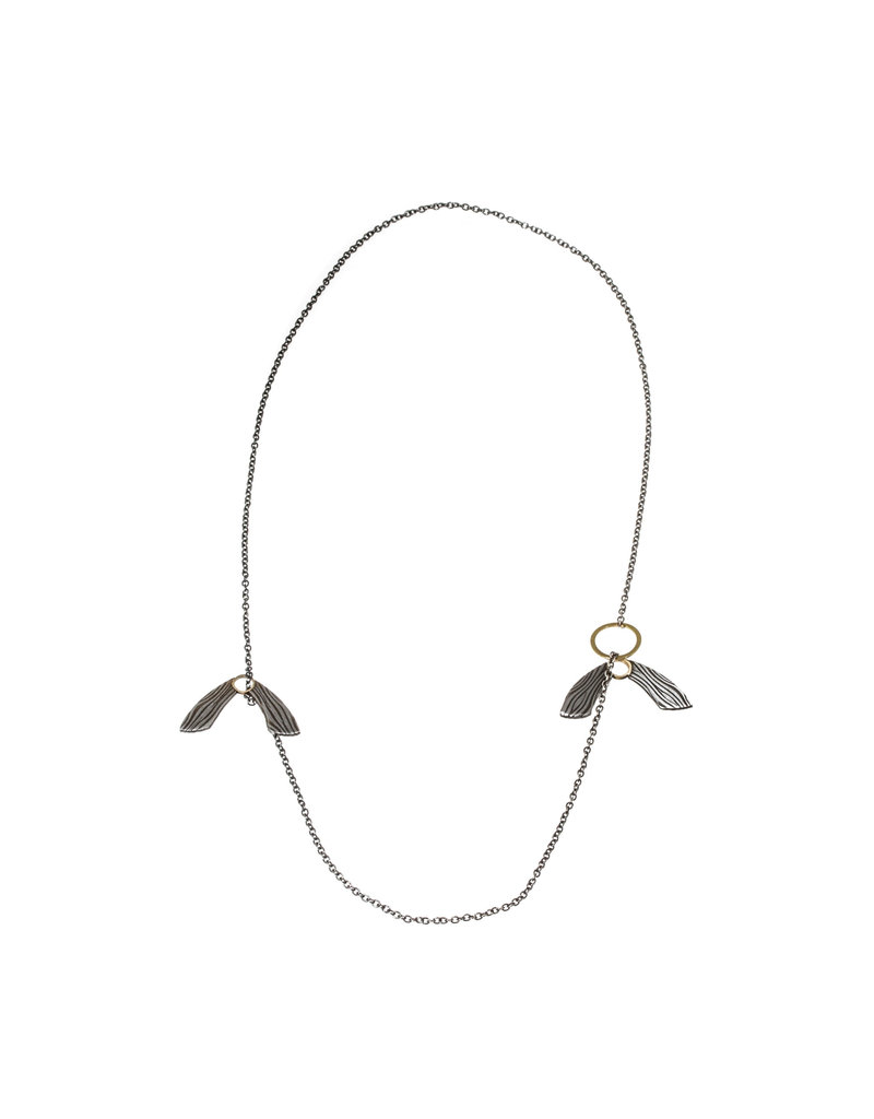 Helicopter Necklace in Damascus Steel and 18k Yellow Gold