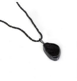 Tektite Pendant in Oxidized Silver