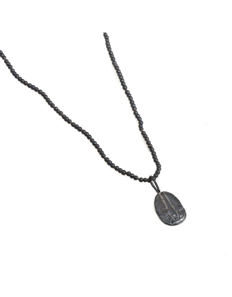 Trilobite Fossil Pendant in Oxidized Silver