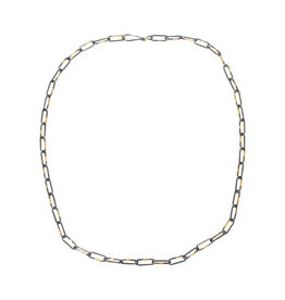 Heavyweight Short Links Chain in Oxidized Silver and 18K Gold - 18.5""