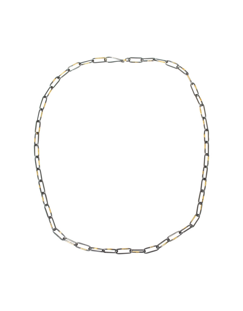 """Heavyweight Short Links Chain in Oxidized Silver and 18K Gold - 18.5"""""""