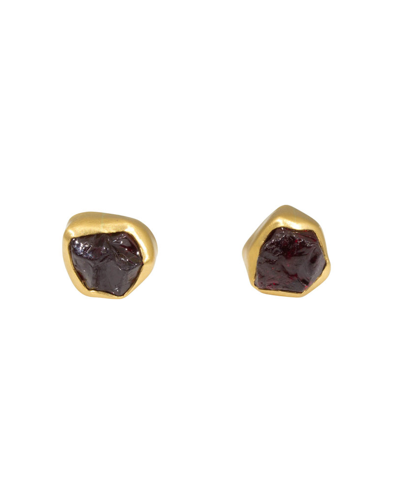 Rough Garnet Post Earrings in 22k and 18k Yellow Gold