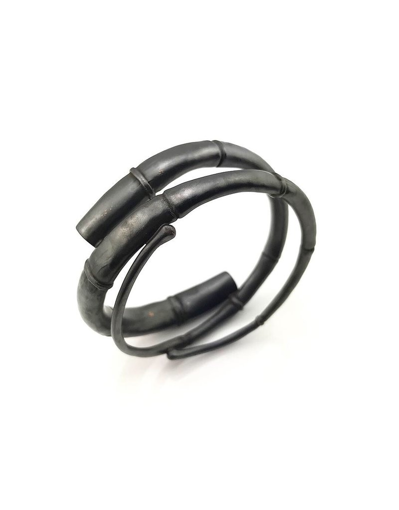 Kai Wolter Double Taper Single Black Tendril Bangle Bracelet in Dark Bronze