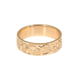 Ginko Biloba  Ring Band (6mm) in 14k Gold