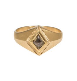 "Brown Diamond Kite ""Quinn"" Ring Band in 14k Gold"