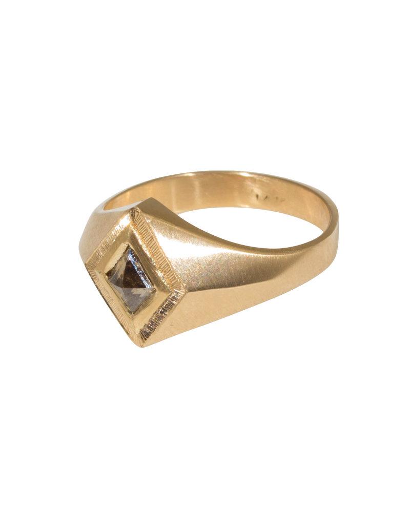 "Brown Diamond Kite ""Quinn"" Ring Band in 14k Gold"