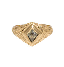 "Champagne Diamond Kite ""Quinn"" Ring in 14k Gold"