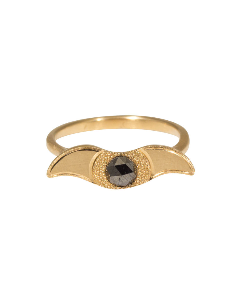 Ra Signet Ring with Black Diamond in 14k Yellow Gold