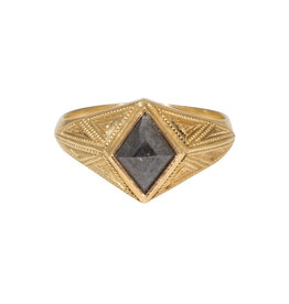 "Grey Diamond Kite ""Quinn"" Ring Band in 14k Gold"