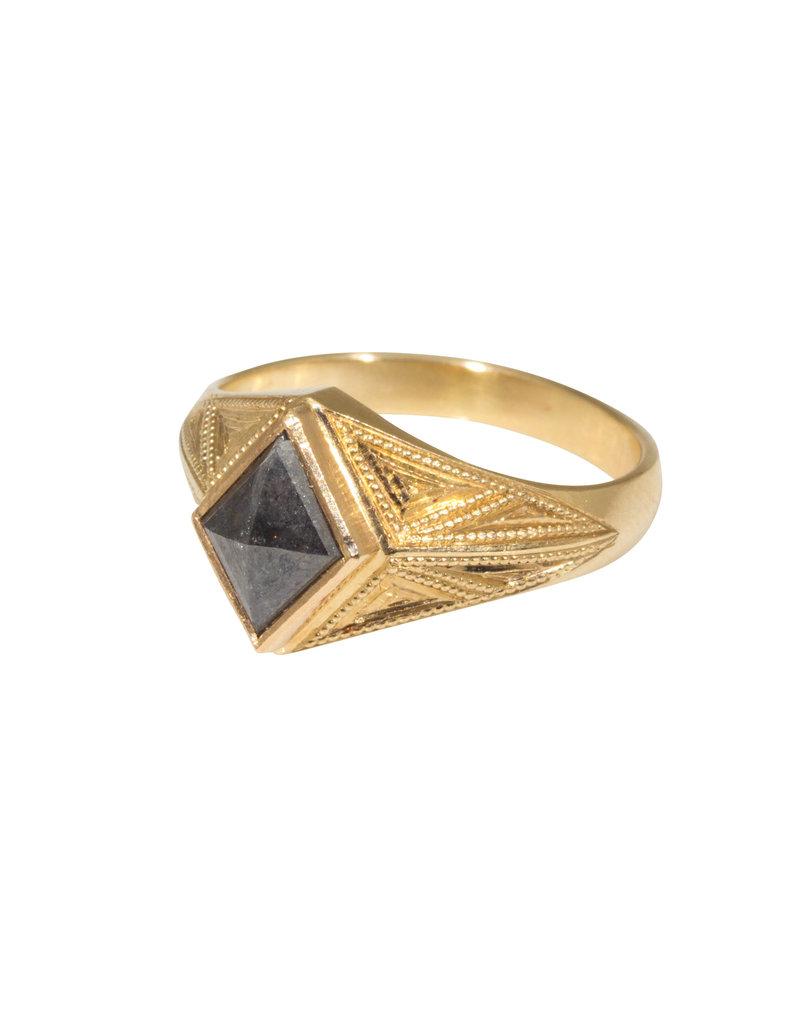 "Grey Diamond Kite ""Quinn"" Ring Band in 14k Gold"